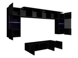 obývací stěna CALABRINI II - černá / černá lesk GIBMEBLE