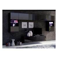 obývací stěna CALABRINI II - černá / černá lesk