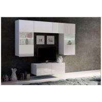 obývací stěna CALABRINI III - bílá / bílá lesk GIBMEBLE