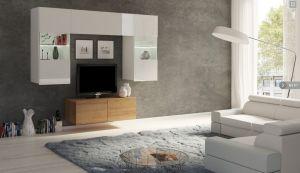 obývací stěna CALABRINI III - bílá lesk / dub zlatý