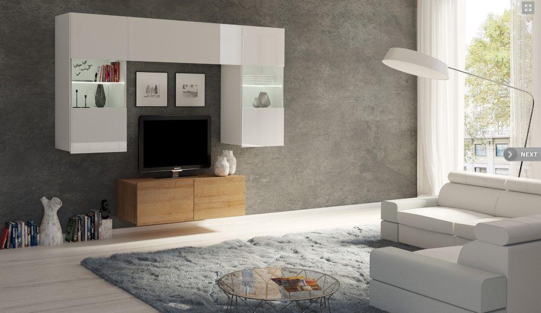 obývací stěna CALABRINI III - bílá lesk / dub zlatý GIBMEBLE
