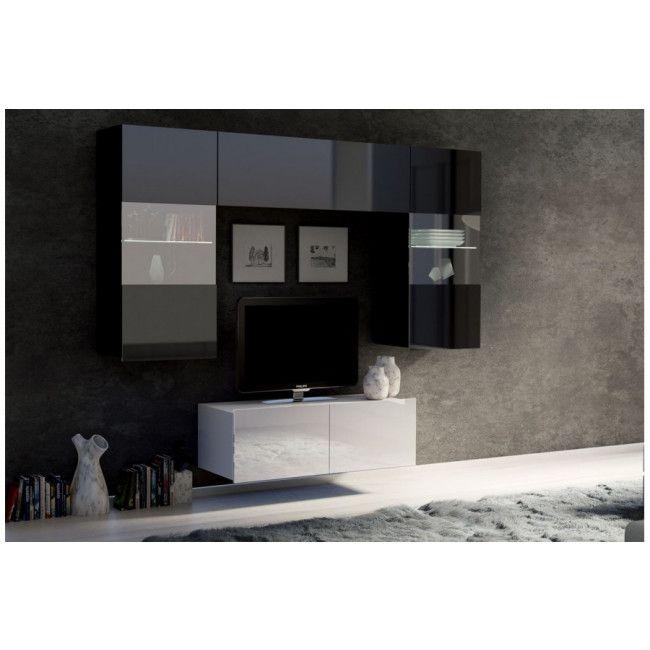 obývací stěna CALABRINI III - černá / bílá lesk GIBMEBLE