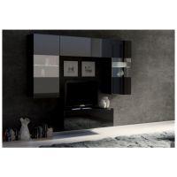 obývací stěna CALABRINI III - černá / černá lesk