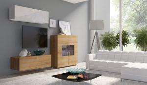 obývací stěna CALABRINI IV - bílá lesk / dub zlatý
