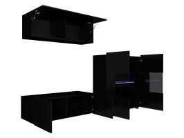 obývací stěna CALABRINI IV - černá / černá lesk GIBMEBLE