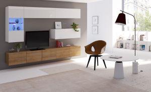 obývací stěna CALABRINI V - bílá lesk  / dub zlatý