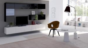obývací stěna CALABRINI V - černá / bílá lesk