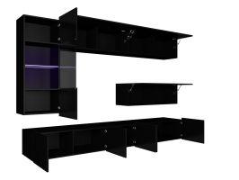 obývací stěna CALABRINI V - černá / černá lesk GIBMEBLE