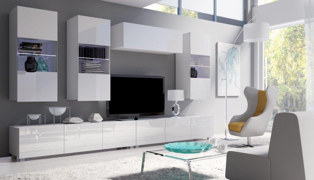 obývací stěna CALABRINI VI - bílá / bílá lesk GIBMEBLE