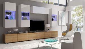 obývací stěna CALABRINI VI - bílá / dub zlatý