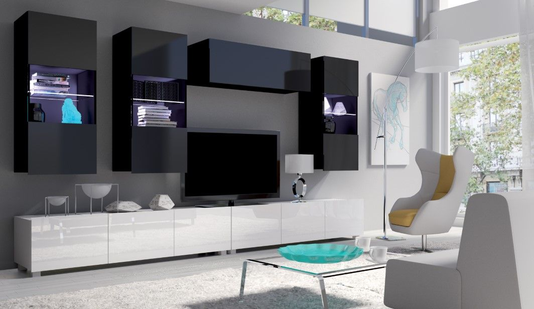 obývací stěna CALABRINI VI - černá / bílá lesk GIBMEBLE