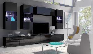 obývací stěna CALABRINI VI - černá / černá lesk
