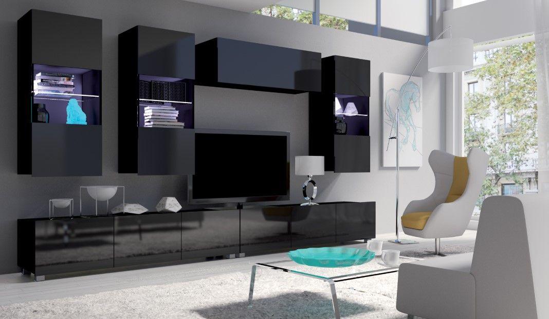 obývací stěna CALABRINI VI - černá / černá lesk GIBMEBLE