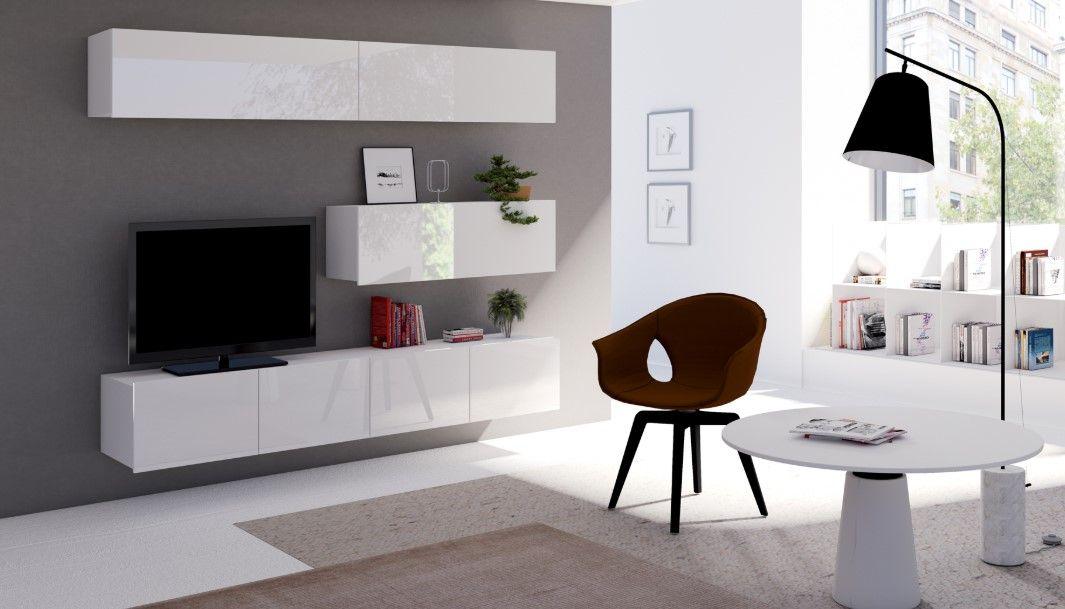 obývací stěna CALABRINI VII - bílá / bílá lesk GIBMEBLE