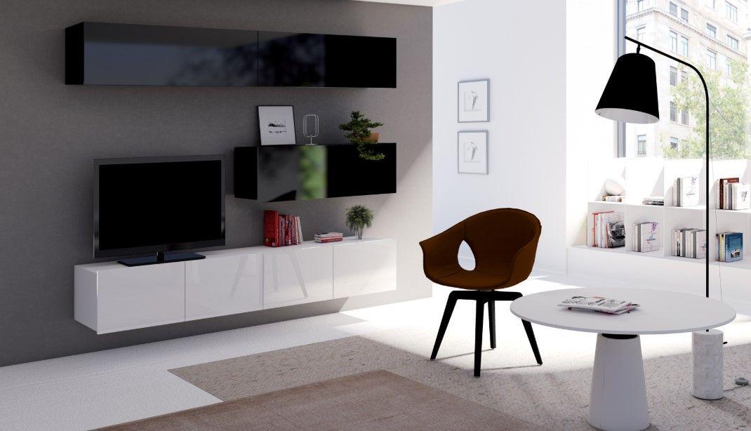 obývací stěna CALABRINI VII - černá / bílá lesk GIBMEBLE