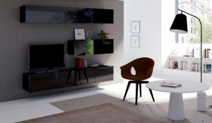 obývací stěna CALABRINI VII - černá / černá lesk
