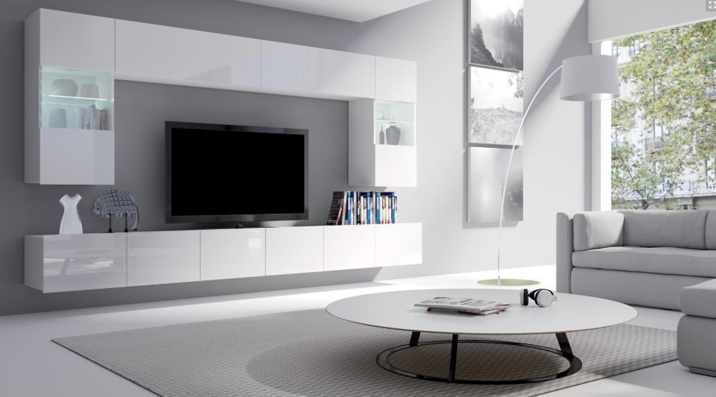 obývací stěna CALABRINI I - bílá / bílá lesk GIBMEBLE