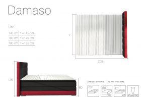 postel boxspring DAMASO - Sawana 26/ Soft eko 33 / 140x200cm EL-TAP