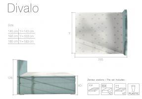postel boxspring DIVALO - Sawana 26 / 140x200cm EL-TAP