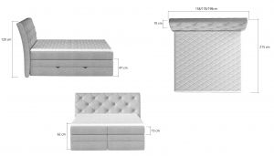 postel Boxspring MIRABEL - Monolith 77 / 180x200cm EL-TAP