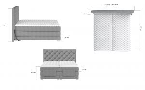 postel boxspring CLOVER s elektr.polohováním - Mat Velvet 68/140x200cm EL-TAP