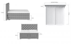 postel boxspring CLOVER s elektr.polohováním - Monolith 84/180x200cm EL-TAP