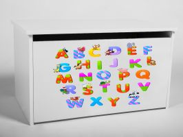 Dětský box na hračky s víkem - Abeceda
