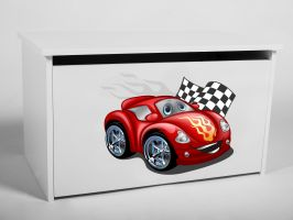 Dětský box na hračky s víkem - Auto