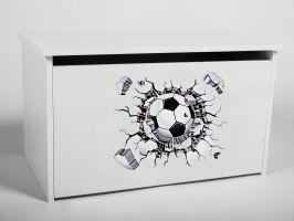 Dětský box na hračky s víkem - Fotbal