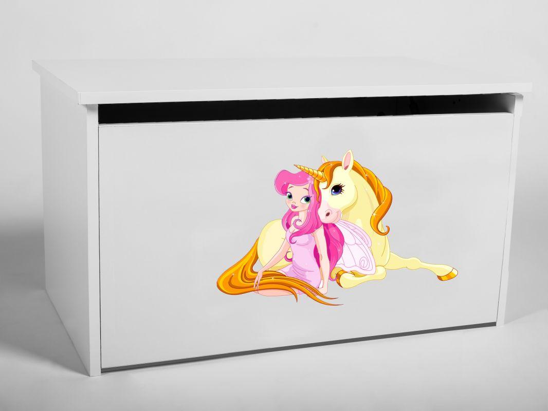 Dětský box na hračky s víkem - Jednorožec ADRK