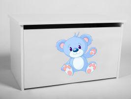 Dětský box na hračky s víkem - Modrý medvídek