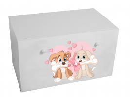 Dětský box na hračky se zásuvkou - Pejsci
