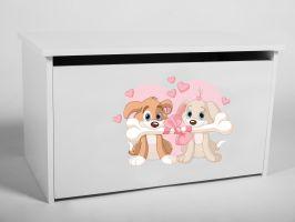 Dětský box na hračky s víkem - Pejsci
