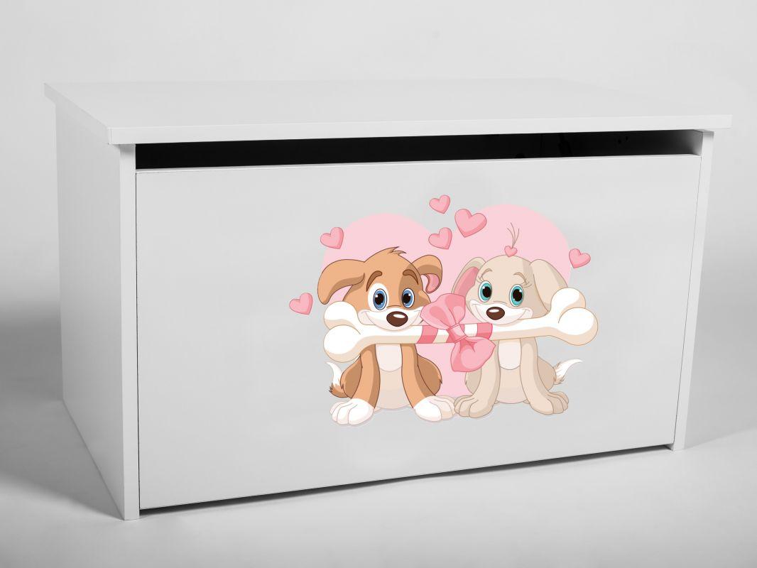 Dětský box na hračky s víkem - Pejsci ADRK