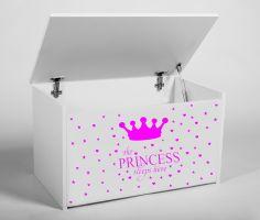 Dětský box na hračky s víkem - Princezna růžová ADRK