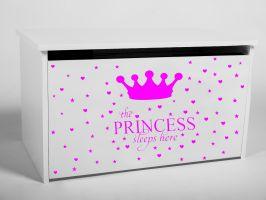 Dětský box na hračky s víkem - Princezna růžová