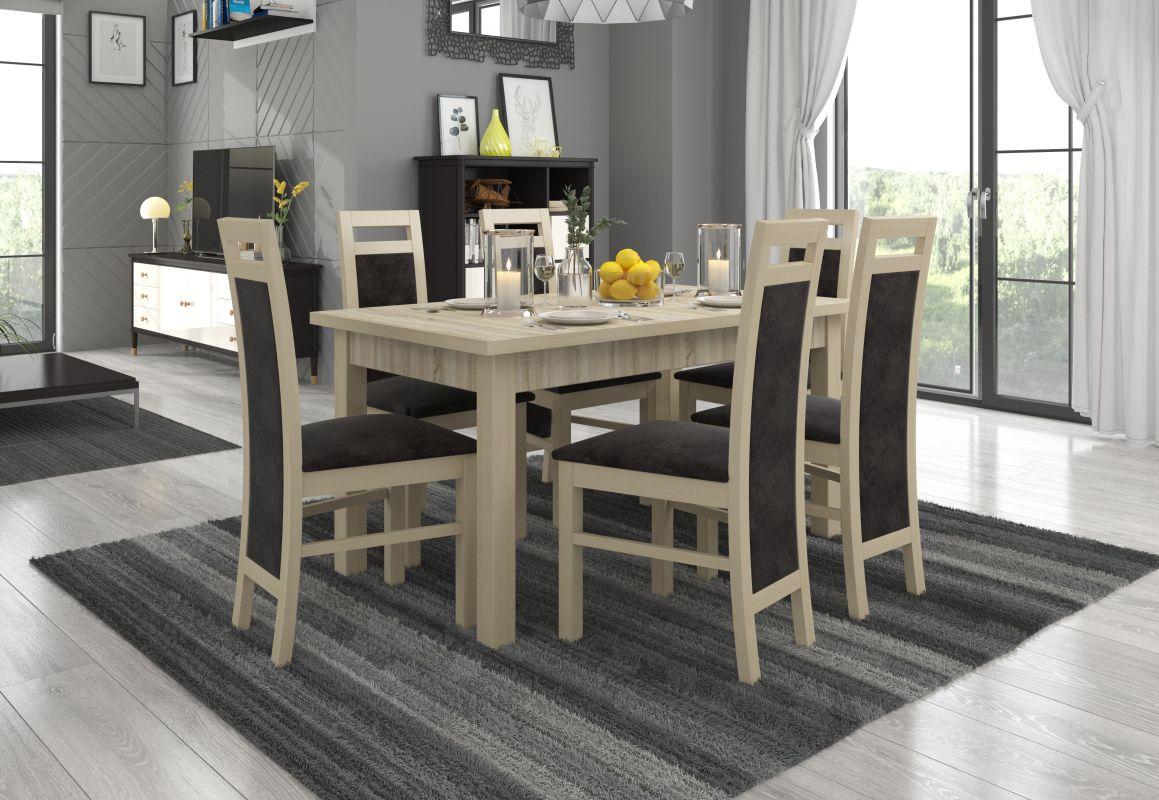 jídelní sestava RODOS 14 - 1 stůl + 6 židlí - Sonoma ADRK