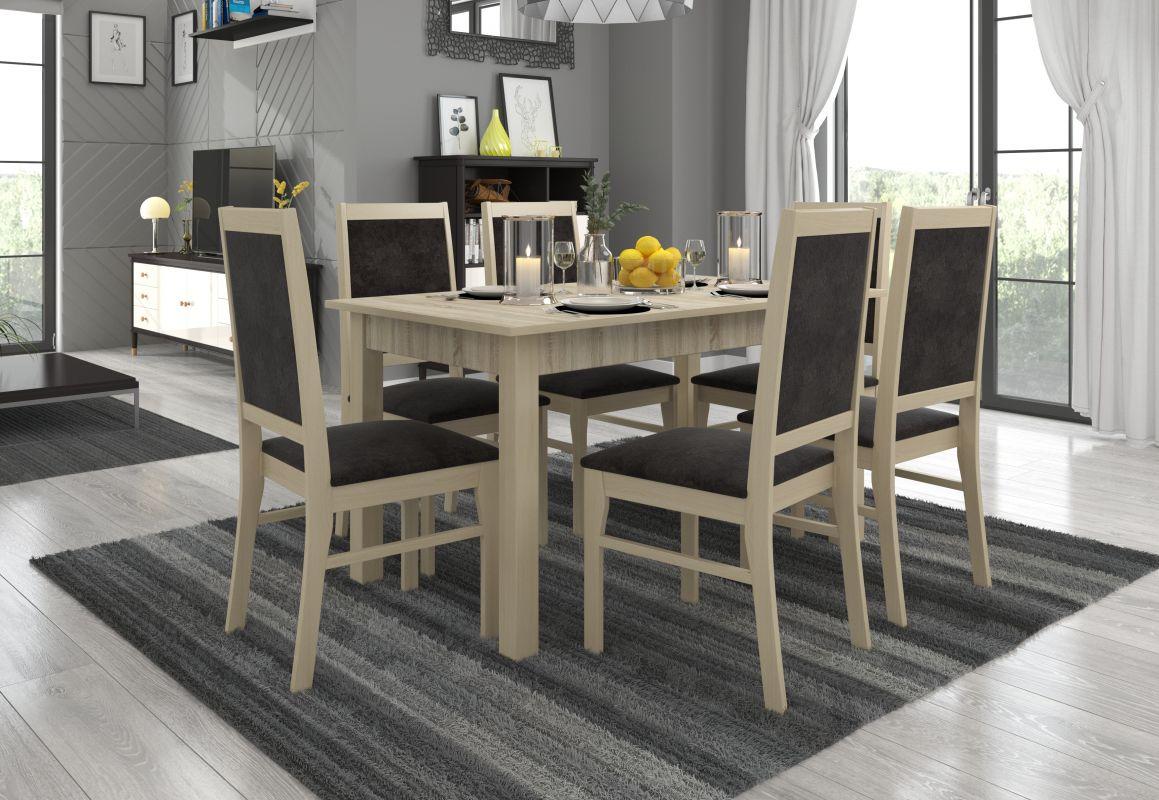 jídelní sestava RODOS 25 - 1 stůl + 6 židlí - Sonoma ADRK