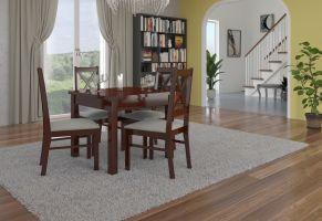 jídelní sestava RODOS 38 - 1 stůl + 4 židle - Ořech tmavý