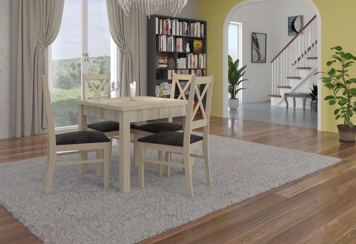 jídelní sestava RODOS 38 - 1 stůl + 4 židle - Sonoma ADRK