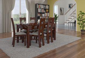 jídelní sestava RODOS 41 - 1 stůl + 6 židlí - Ořech tmavý