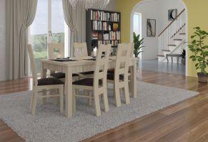 jídelní sestava RODOS 41 - 1 stůl + 6 židlí - Sonoma