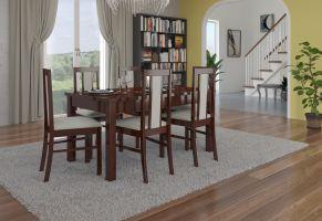 jídelní sestava RODOS 52 - 1 stůl + 6 židlí - Ořech tmavý