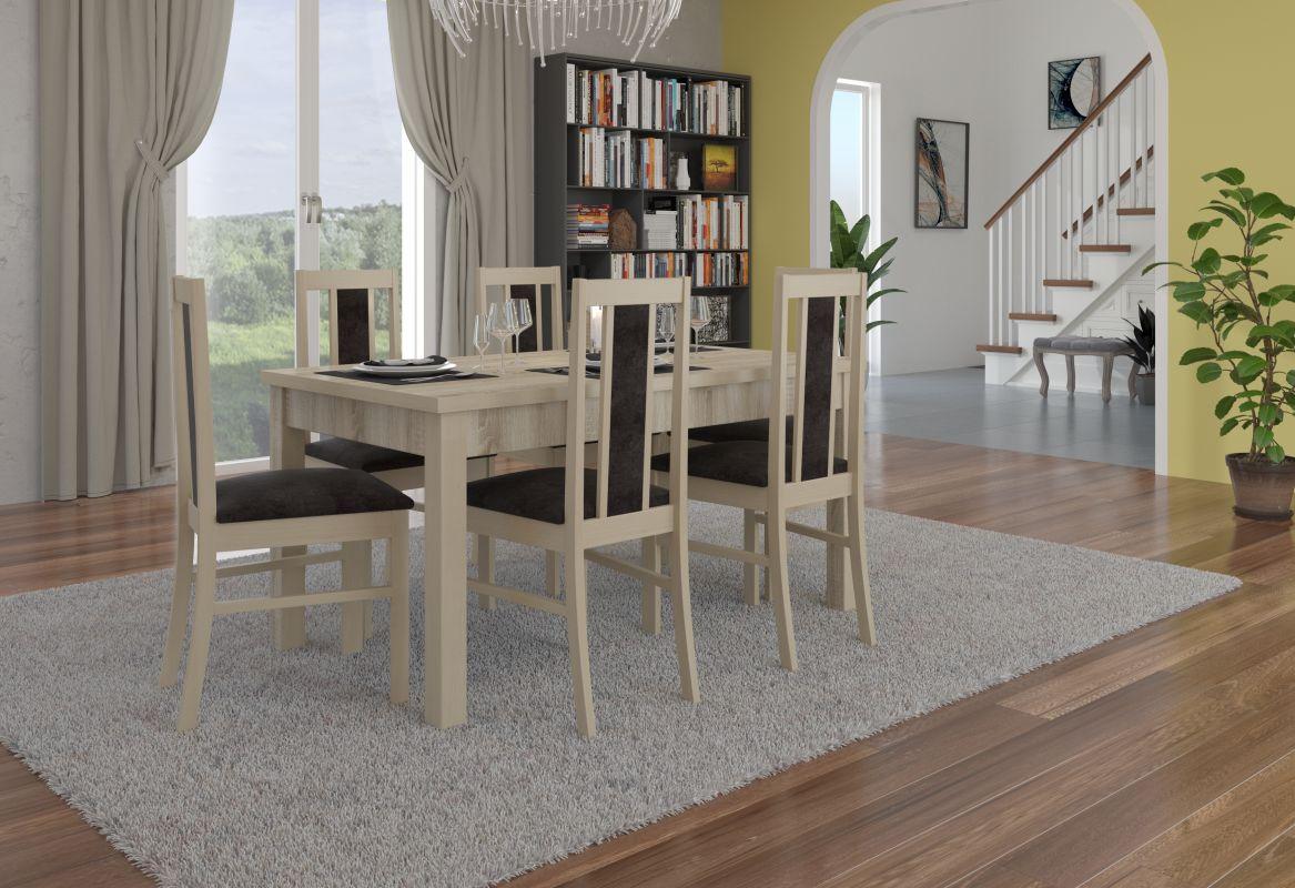 jídelní sestava RODOS 52 - 1 stůl + 6 židlí - Sonoma ADRK