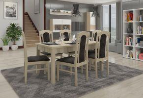 jídelní sestava RODOS 53 - 1 stůl + 6 židlí - Sonoma