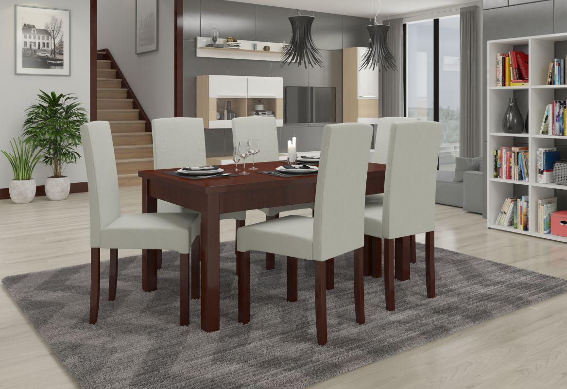 jídelní sestava RODOS 56 - 1 stůl + 6 židlí - Ořech tmavý ADRK
