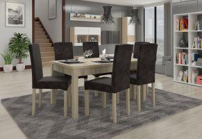 jídelní sestava RODOS 56 - 1 stůl + 6 židlí - Sonoma