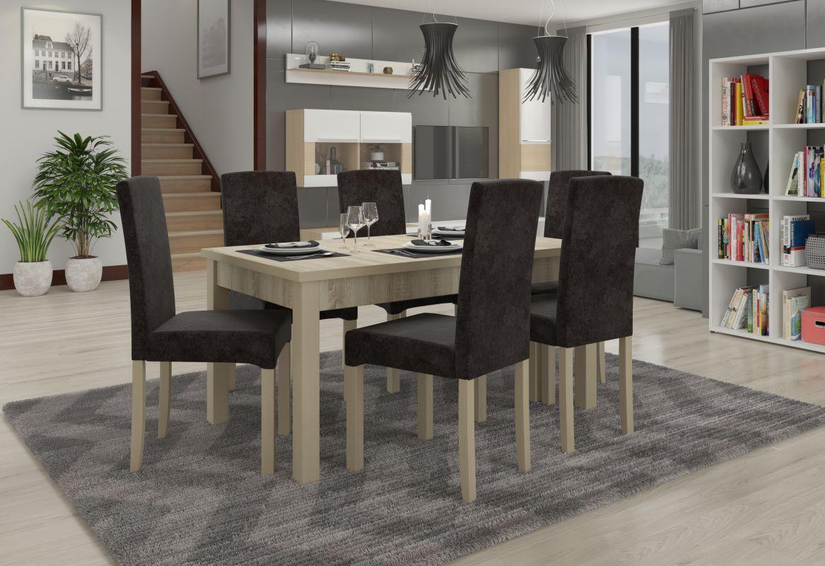 jídelní sestava RODOS 56 - 1 stůl + 6 židlí - Sonoma ADRK