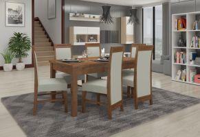jídelní sestava RODOS 57 - 1 stůl + 6 židlí - Lefkas tmavý