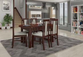 jídelní sestava RODOS 59 - 1 stůl + 6 židlí - Ořech tmavý